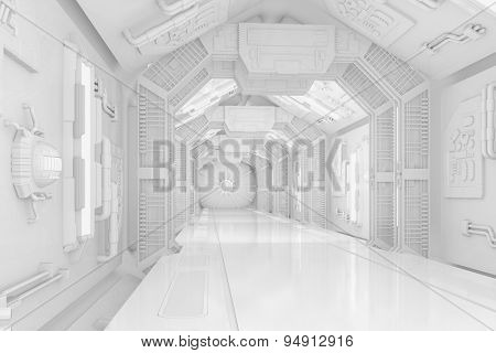 Inside the hallway of a futuristic science-fiction spaceship (3D Rendering)