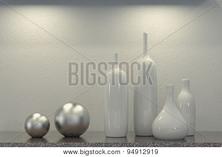 Different ceramics vases standing in front of a wall (3D Rendering)