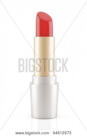 Red lipstick standing isolated on a white background (3D Rendering)