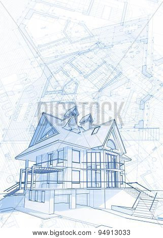 Architecture design: blueprint - house  & plans