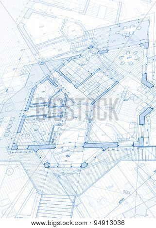 Architecture design: blueprint - house plans  illustration