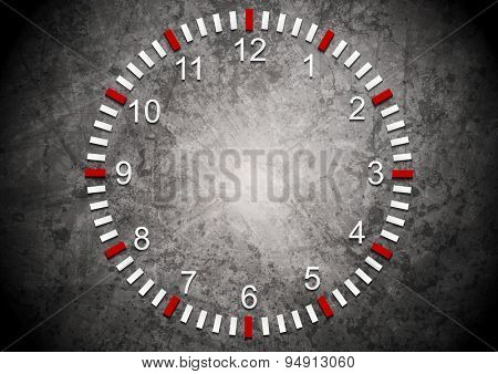 Abstract clock on grunge wall. Vector business background