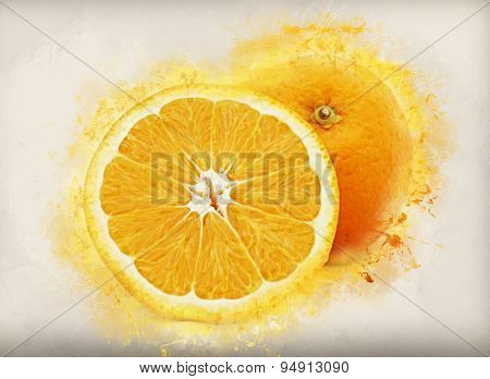 Image of oranges with grunge effect