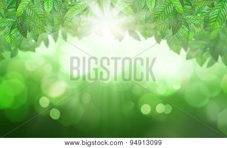 3D render of leaves against a defocussed background