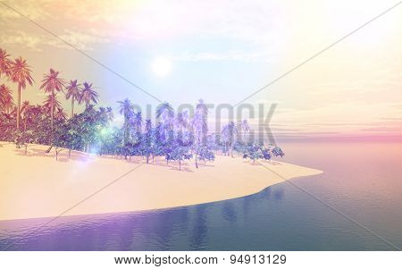 3D render of a tropical island in sea with retro effect