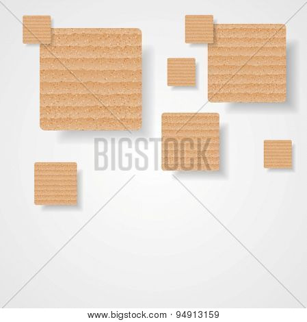 Graphic background of cardboard squares. Vector art design