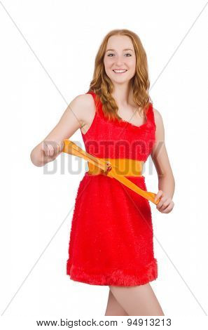 Young beautiful girl in red dress  isolated on white