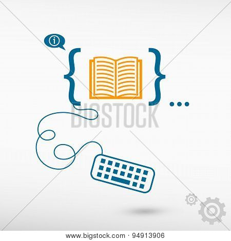 Book Icon And Flat Design Elements
