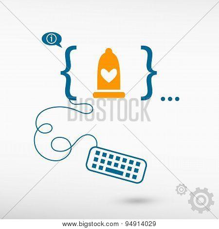 Condom Icon And Flat Design Elements