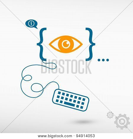 Eye Icon And Flat Design Elements