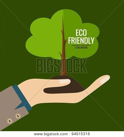 ECO FRIENDLY. Ecology concept with Hand and tree. Vector illustration.