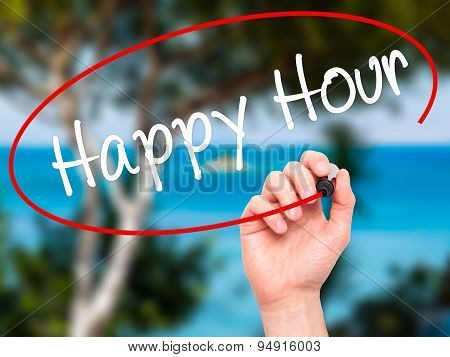 Man Hand writing Happy Hour with black marker on visual screen.