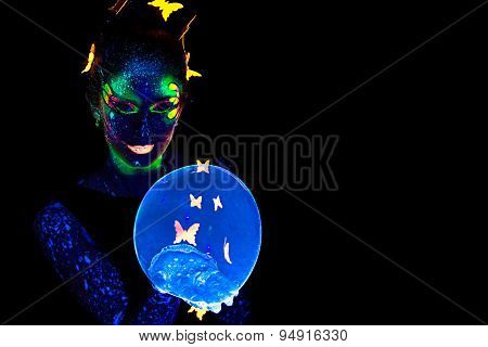 Portrait woman with luminous make up and bubble