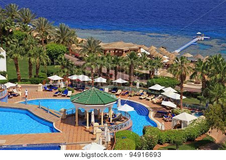 Beautiful Sea View On Tropical Luxury Resort Hotel , Red Sea Beach In Sharm El Sheikh, Egypt.
