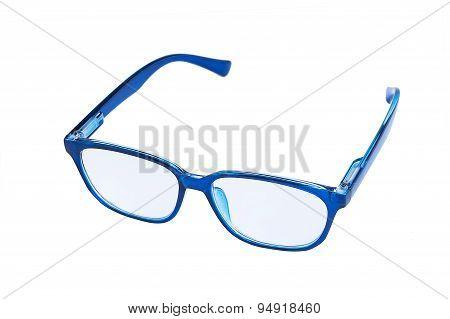 Blue eyeglasses isolated on white