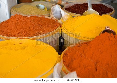 Authentic Tunisian Spices At The Market. Mahdiya, Tunisia, Africa.