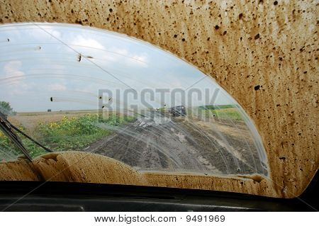 Of Road Driving Through The Mud