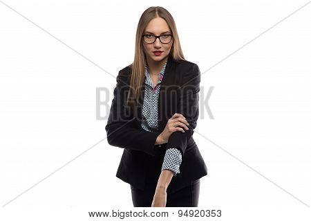 Photo of businesswoman rolling up sleeves