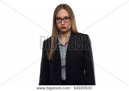 Photo of tired unhappy business woman