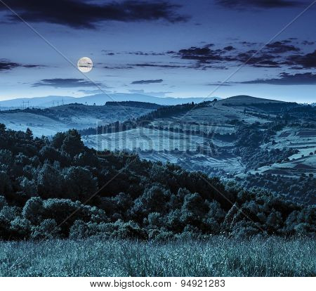 Agricultural Fields In Mountains At Night