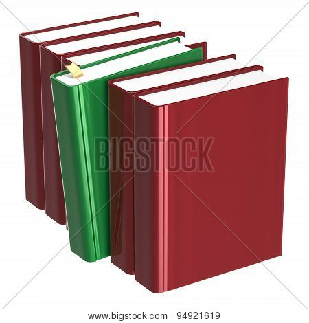 Books Row Blank Red One Selected Green Choosing Answer