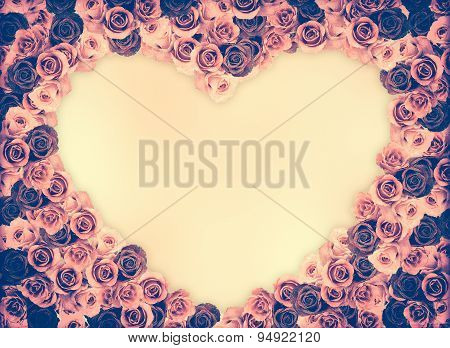 Group Of Rose Flower Frame On Pink Blank Space