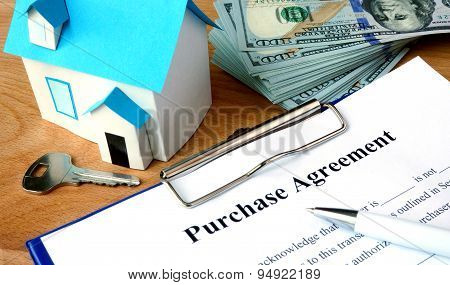 Purchase agreement document with home model.