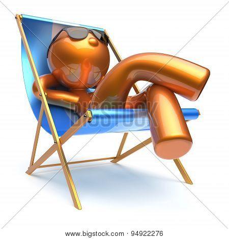 Man Cartoon Character Relaxing Beach Deck Chair Harmony