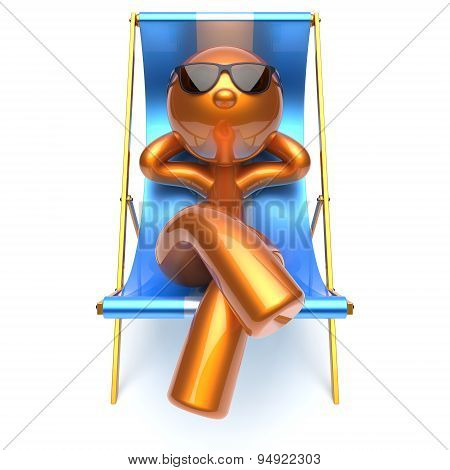Man Relaxing Chilling Harmony Beach Deck Chair Sunglasses