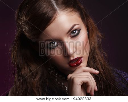 Beauty Portrait Of Young Brunette Woman With Creative Makeup