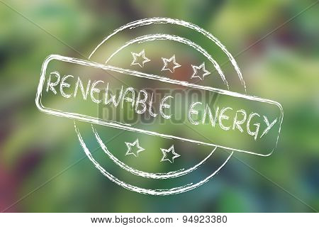 Stamp With 5 Stars Evaluation About Renewable Energy