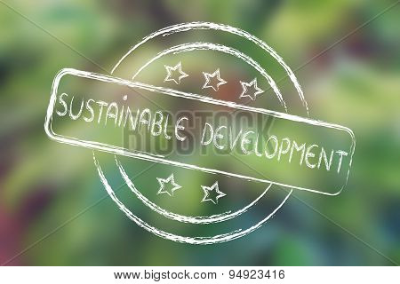 Stamp With 5 Stars Evaluation About Sustainable Development