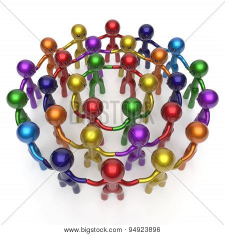 Social Network Worldwide Crowd Large Circle Characters Group