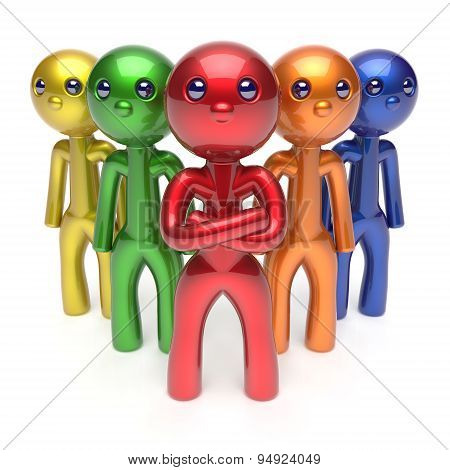 Leadership Teamwork Characters Men Crowd Businessman