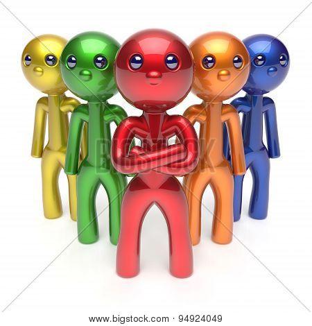 Leadership Teamwork Characters Men Crowd Businessman