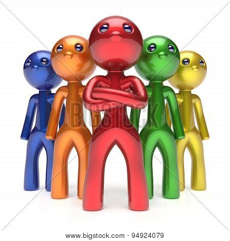 Leadership Teamwork Characters Men Crowd Businessmen