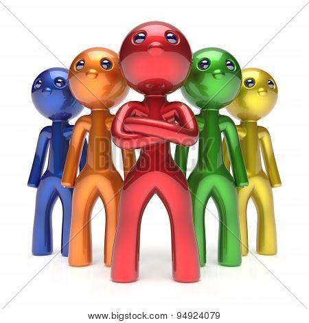 Leadership Teamwork Characters Men Crowd Businessmen