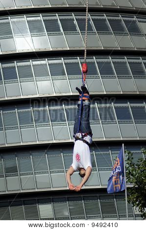 Bungee Jumper At The Rat Race Urban Adventure Event In The City Of London 25Th September 2010