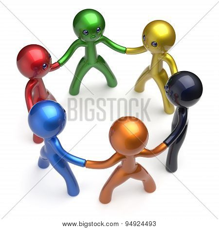Teamwork Human Resources Social Network Characters Circle