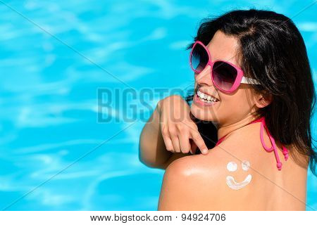Funny Woman On Summer With Sunscreen At Swimming Pool