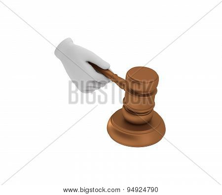 Hand In A White Glove Holding A Gavel. 3D Render. White Background.