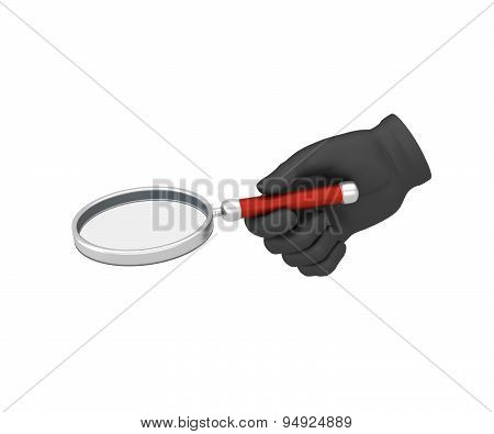 Hand In A Black Glove Holding A Loup. 3D Render. White Background.