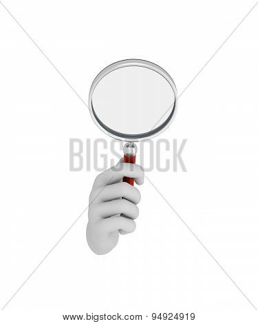 Hand In A White Glove Holding A Loup. 3D Render. White Background.
