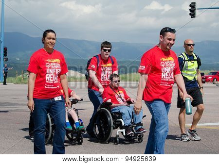 2015 Special Olympics handicapped adults in Unified Relay across