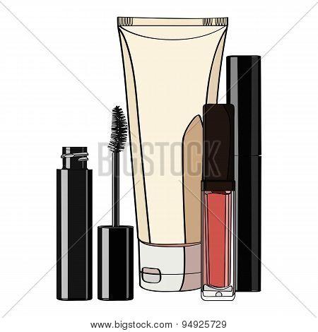 set of decorative cosmetics.
