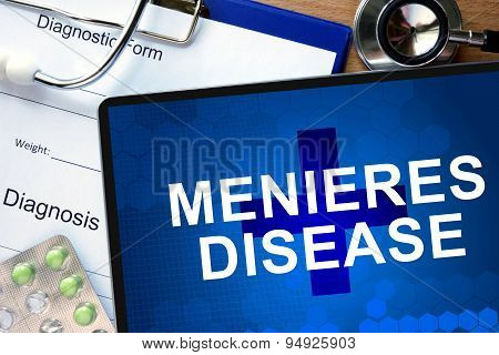 Diagnosis Menieres disease and tablets.