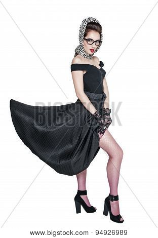 Beautiful Retro Pin-up Woman Style Putting Stockings Isolated