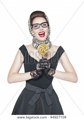 Young Beautiful Woman In Retro Pin Up Style With Lollipop