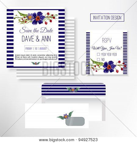 Vector Watercolor Save The Date Card In Rustic Style With Green Leaves And Flowers.