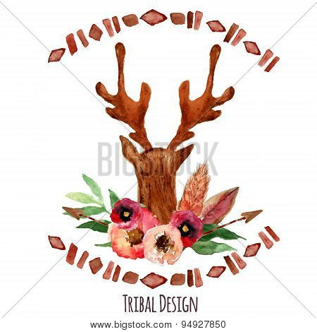 Watercolor Deer Head With Flowers, Leaves And Arrows In Tribal Style. Creative Design For Card, Web
